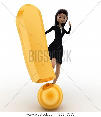 3D Woman Kick Golden Exclamation Mark Concept