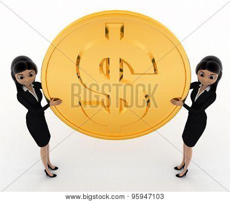 3D Rabbit Holding Big Golden Dolllar Coin Concept