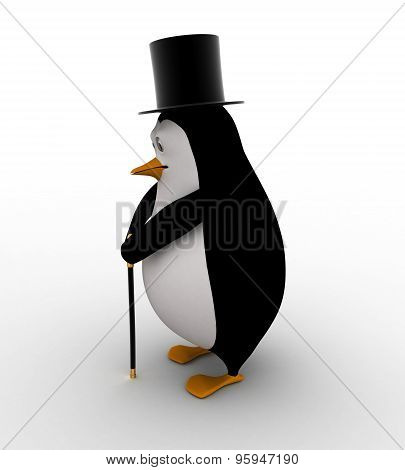3D Penguin With Hat And Walking Stick In Style Of English Man Concept