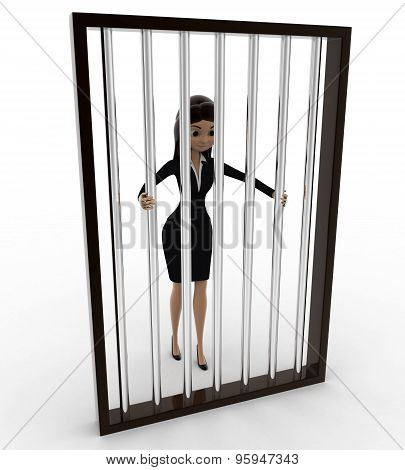3D Woman In Jail Holding Bars Concept