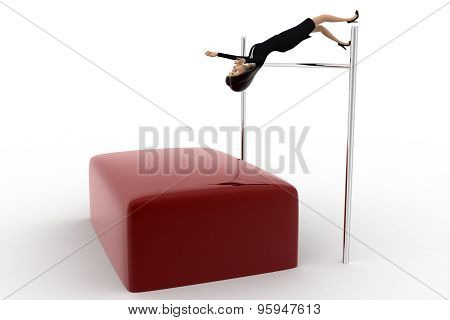 3D Woman Doing High Jump Practise Concept
