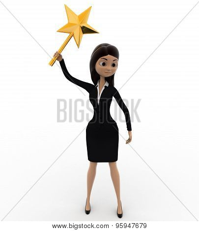 3D Woman With Magical Star Stick Concept