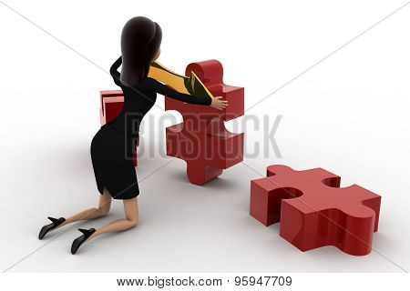 3D Woman Holding Golden Bidericational Arrow And Red Puzzle Pieces Concept