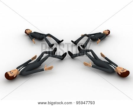 3D Four Men Sleeping On All Four Directions Concept