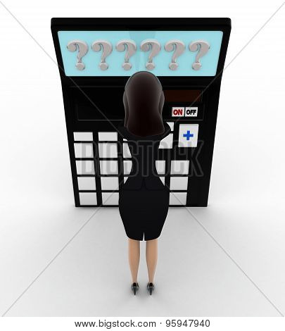 3D Woman In Tension While Looking At Question Mark On Calculator Lcd Concept