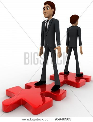 3D Two Men Stand On Red Puzzle Piece On Opposite Side Concept