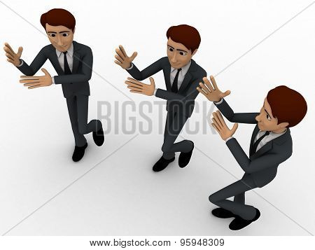 3D Three Men Dancing In Rythem Concept