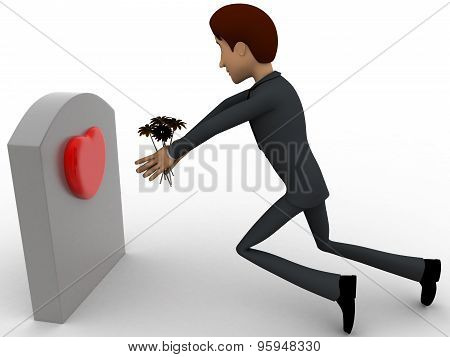 3D Man Putting Flower On Grave Stone Of His Love Concept