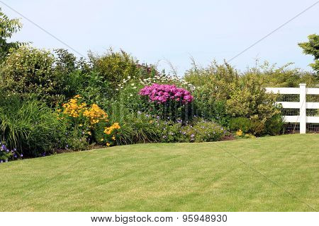 Summer park garden lawn with perennial border in bloom.
