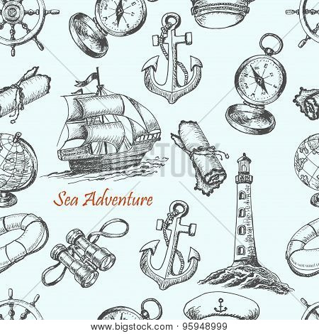 Seamless pattern with Sea Adventure elements in sketch style