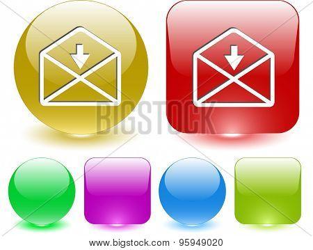 mail downarrow. Vector interface element.