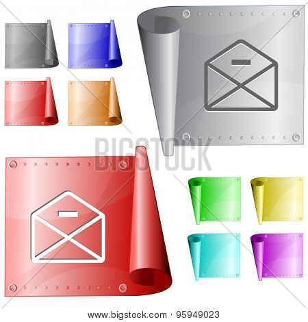 mail minus. Vector metal surface.