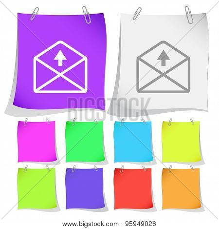 mail up arrow. Vector note papers.