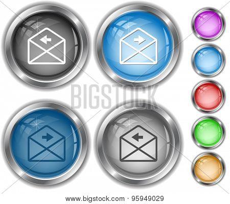 mail left arrow. Internet buttons.