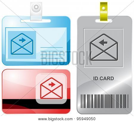 mail right arrow. Vector id cards.