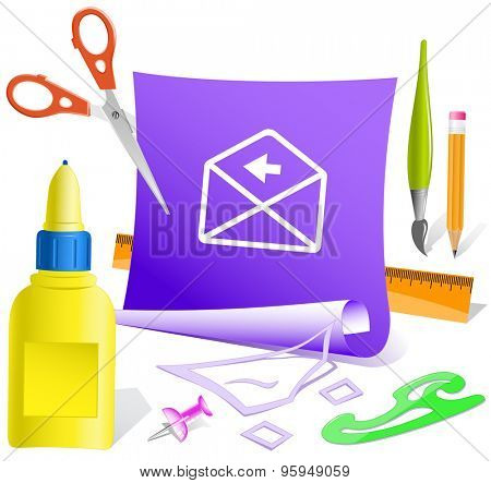 mail left arrow. Paper template. Vector illustration.