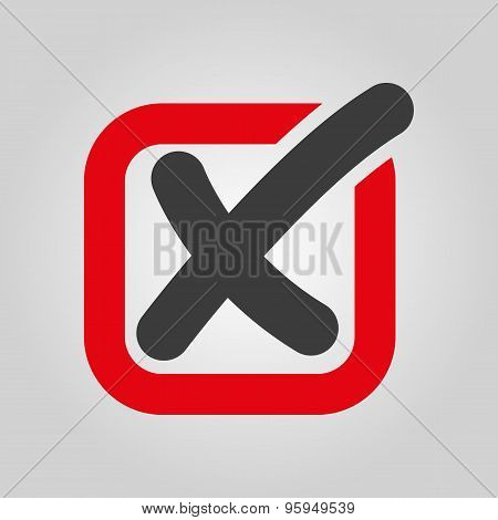 The Check Icon. Checkmark And Checkbox, No, Voting Symbol. Flat