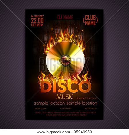 Disco Poster. Fire Hard Rock Background. Burning Disck Or Record