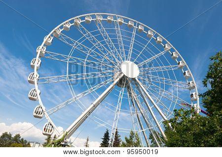 white ferris wheel against blue sky background