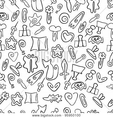 Doodle seamless pattern with paper clips of various shapes