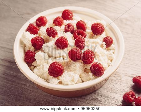 Dairy Curd With Ripe Raspberries