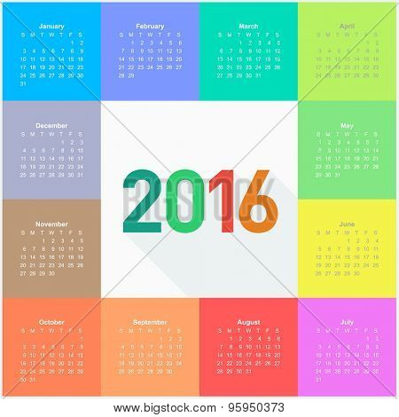 Circle calendar for 2016 year. Colorful vector