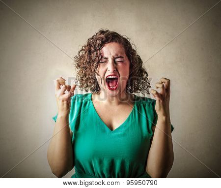 Stressed-out woman shouting