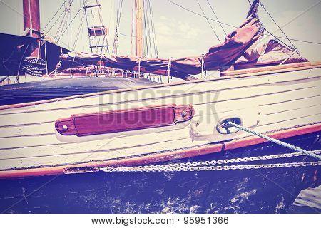 Vintage Toned Boat Side, Nautical Background.
