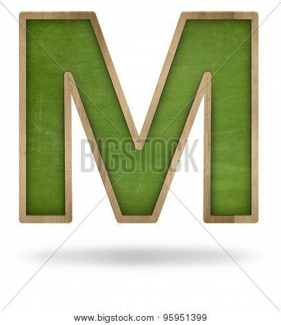 Green blank letter M shape blackboard