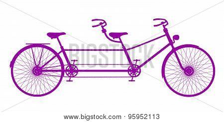 Retro tandem bicycle in purple design