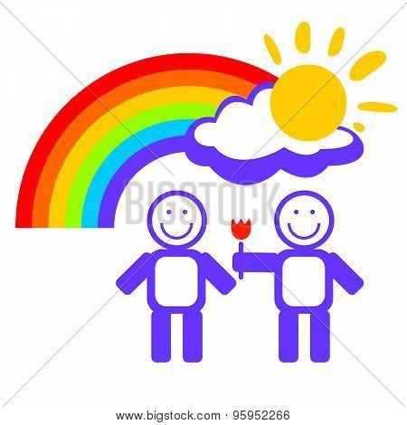 Boys Couple And Rainbow