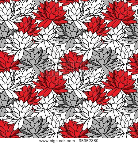 Seamless ornament with water lily. Stylish floral pattern in black, white and red colors.