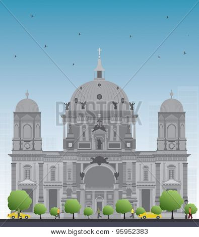 Berlin Cathedral in Berlin, Germany. Vector Illustration