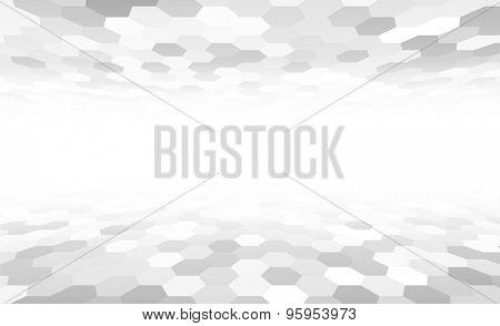 Perspective grid hexagonal surface. Vector illustration.