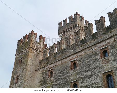 Detail of the Scaliger Castle at the lago di Garda
