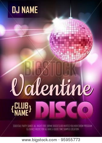 Disco Valentine Background. Disco Poster