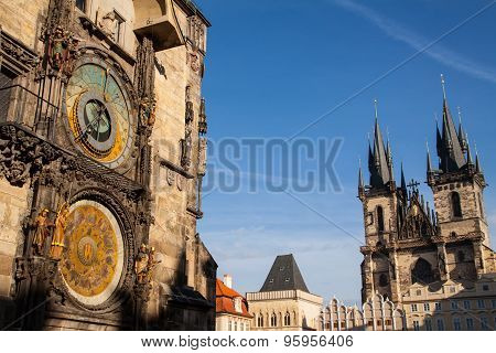 Old town square and astronomical clock in Prague