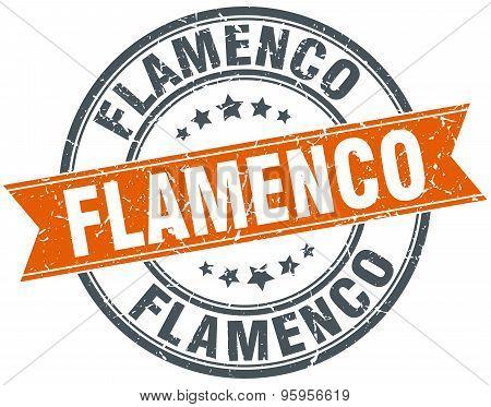 Flamenco Round Orange Grungy Vintage Isolated Stamp