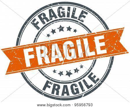 Fragile Round Orange Grungy Vintage Isolated Stamp