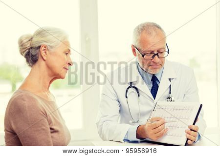 medicine, age, health care and people concept - senior woman and doctor meeting in medical office