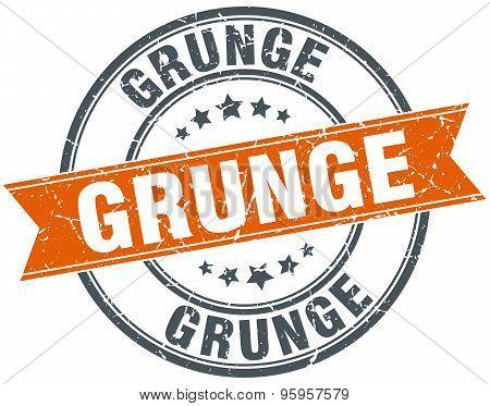 Grunge Round Orange Grungy Vintage Isolated Stamp