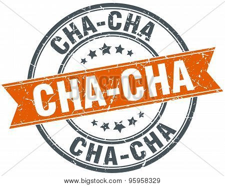 Cha-cha Round Orange Grungy Vintage Isolated Stamp
