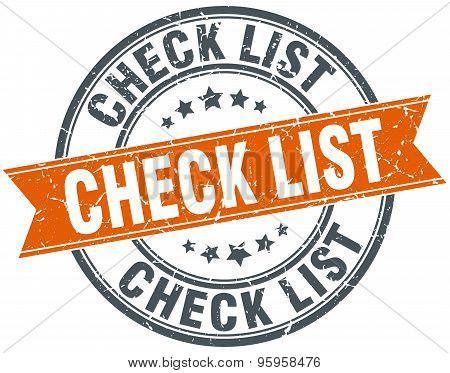 Check List Round Orange Grungy Vintage Isolated Stamp