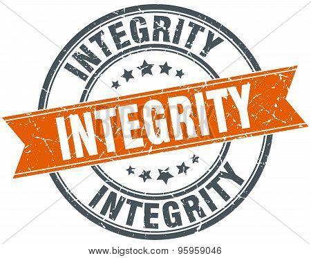 Integrity Round Orange Grungy Vintage Isolated Stamp