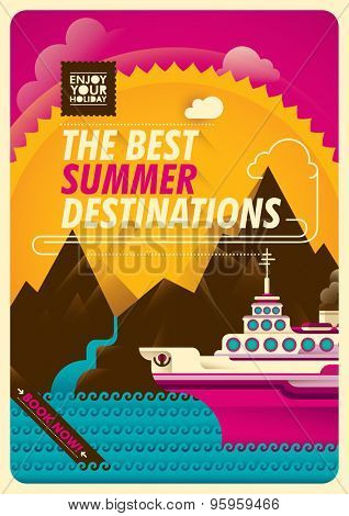 Traveling illustration with cruise ship. Vector illustration.