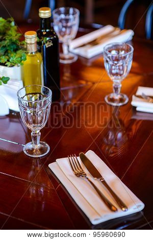 The table served before dinner in the luxury restaurant