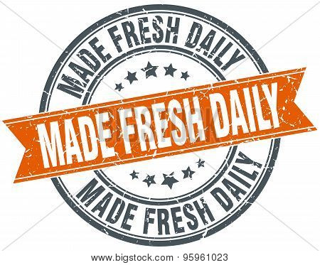 Made Fresh Daily Round Orange Grungy Vintage Isolated Stamp