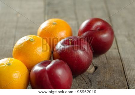 Plums And Clementines On Table