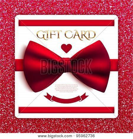 Gift Card With Red Bow On Red Glitter Background. Vector Illustration