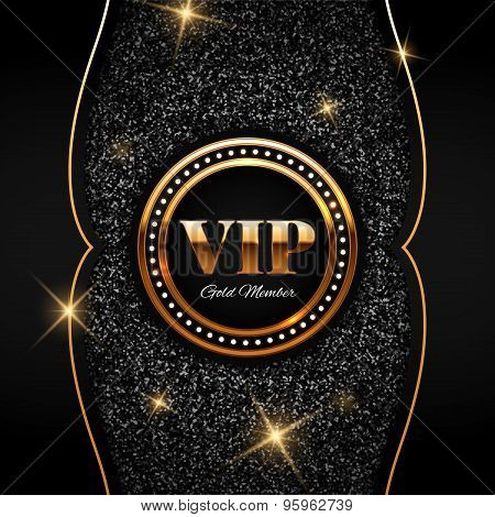 Gold Vip Vector Illustration On Shiny Glitter Background